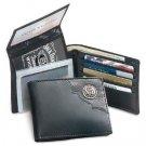 Licensed Jack Daniels Signature BiFold Men's Leather Wallet W/ Metal Logo BLACK