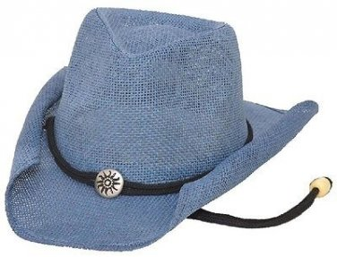 Western Women's Curled Straw Hat w/ Chin String Cowboy Cowgirl Blue - ALL SIZES
