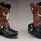 Western Express Cowboy Boot Pencil Holder Steer Skull Design 4-1/2 x 4-1/2 NIB