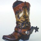 "Western Express Large Brown Cowboy Boot Vase 9 1/2"" x 11"" -NEW IN GIFT BOX"