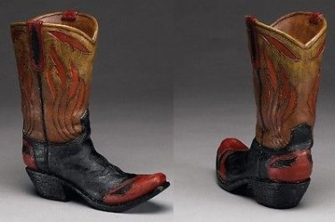 """Western Express Cowboy Boot Vase """"Flame"""" Design 8""""x9"""" -NEW IN GIFT BOX"""