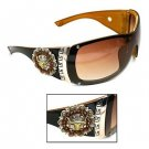 Western Cowgirl Fashion Sunglasses w/ Hard Case Steer Concho Swavorski Crystals