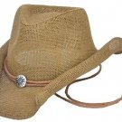 Western Women's Curled Straw Hat w/ Chin String Cowboy Cowgirl Brown - ALL SIZES