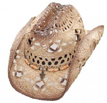Western Raffia Straw Hat  Beach Cowboy Cowgirl Rodeo Grey Color-  S,M,L,XL Sizes
