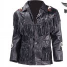 Men's Motorcycle Jacket Fringes & Beads Western Style Genuine Leather ALL SIZES