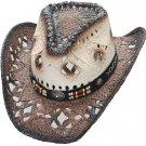 Western Straw Hat Pinch Front Dark Brown Cowboy Cowgirl Rodeo Cattleman S,M,L,XL