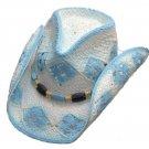 Western Straw Pinch Front Hat  Blue & White Cowgirl Cowboy Cattleman - S,M,L,XL