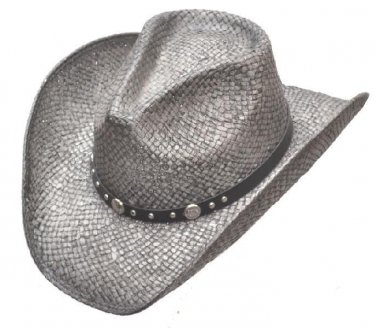 Western Straw Hat Silver Pinch Front Cowgirl Cowboy Rodeo Cattleman - S,M,L,XL