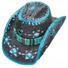 Western Straw Hat Beach Cowboy Cowgirl Rodeo Cattleman Blue Color-  S,M,L,XL