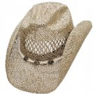 Western Seagrass Hat  Beach Cowboy Cowgirl Dark Brown - Adult & Kids S,M,L,XL