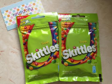 2 packs of Skittles Sour Candies in resealable packing