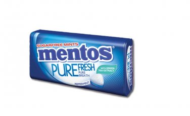 4 Tins of Mentos Pure Fresh Sugarfree Mints in Peppermint Flavour