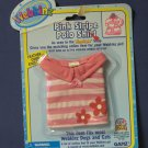 Webkinz Pink Stripe Polo Shirt With Feature Code - New on Card WE000082 Ganz
