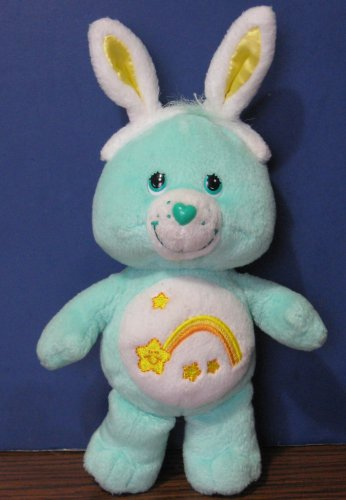 "Care Bears Wish Bear 8"" Easter Bunny Plush Bear - 2004 - Play Along"