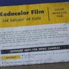 Kodak Kodacolor Color Negative Film Instruction Sheet 1960s Vintage 3-62-FXXX