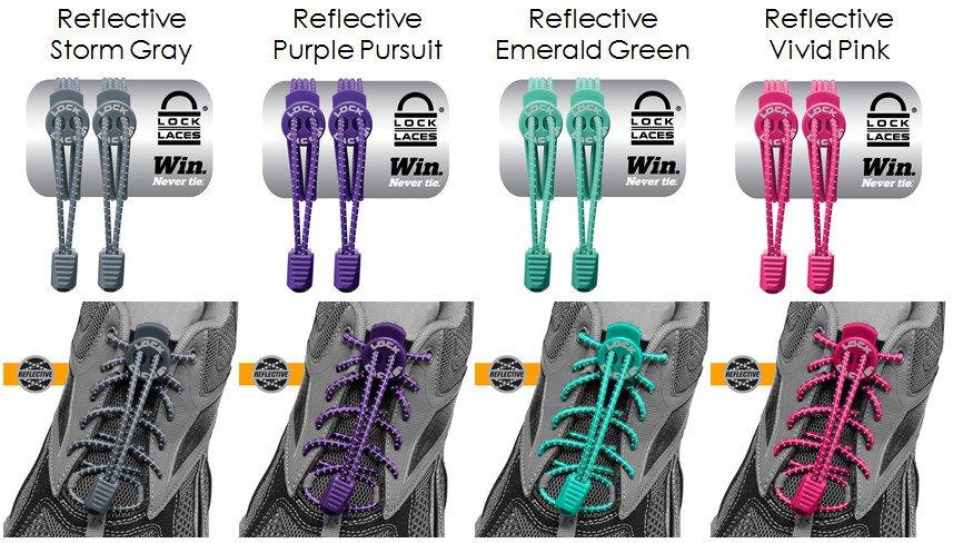 Nathan Shoe Reflective Lock Laces Elastic Shoelace & Fastening System