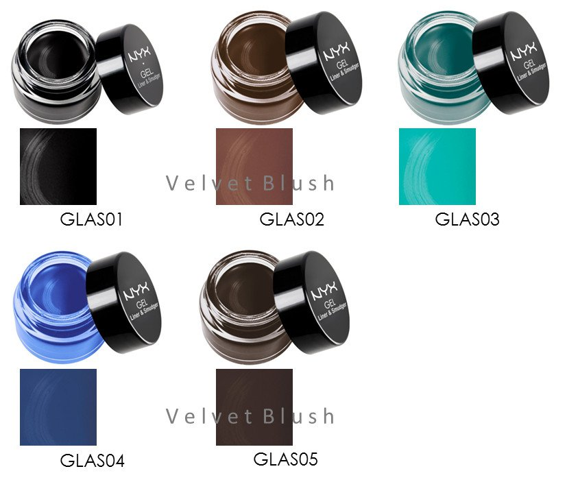 3 NYX Gel Liner and Smudger GLAS - Choose Your Favorite 3 Colors - VelvetBlush