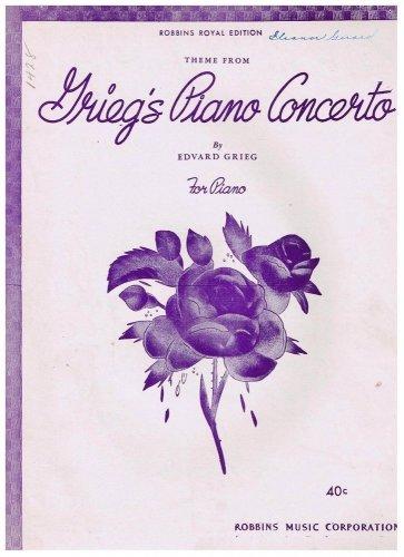 Grieg's Piano Concerto Sheet Music Edvard Grieg