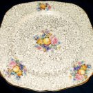 H & K Tunstall Floral Fruit Square Gold Chintz Plate