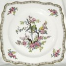 Vintage CROWN DUCAL Bird Plate Parrot Pink Flowers