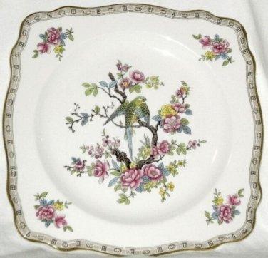 Vintage CROWN DUCAL Bird Plate Parrot Pink Flowers