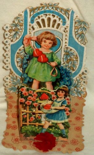 Germany Die Cut Valentine Card Vintage Honeycomb Fold Out Boy Girl Hearts Roses