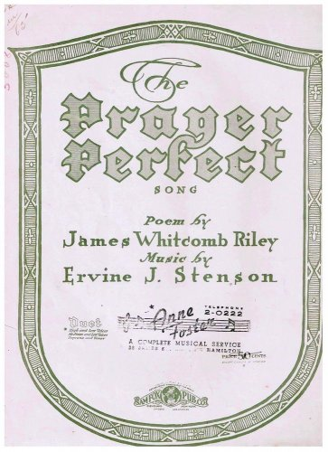 The Prayer Perfect Sheet Music James Whitcomb Riley Ervine Stenson