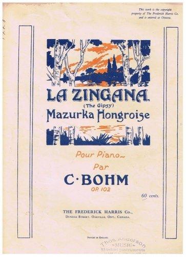 La Zingana The Gipsy Sheet Music Mazurka Hongroise C Bohn
