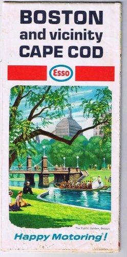 Boston & Vicinity Cape Cod Esso Road Map 1968 Public Garden