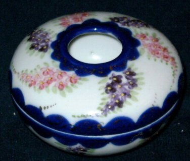 VINTAGE Cobalt Blue Gold Handpainted Hair Receiver
