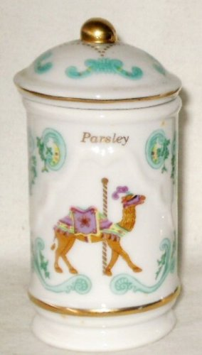 Lenox Carousel Spice Bottle Jar Lid Rosemary 1993 Fine Porcelain