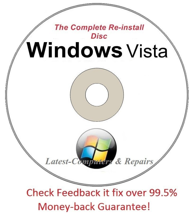 Windows Vista All Versions 32/64-Bit Complete Re-install Disc  - Had windows? you can Reinstall it