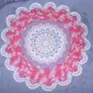 Thread Crochet White & Pink Round Pineapple Doily 18""