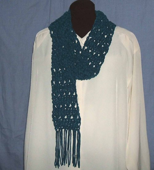 NWOT Lion Brand Teal Suede Girl Womens Yarn Scarf