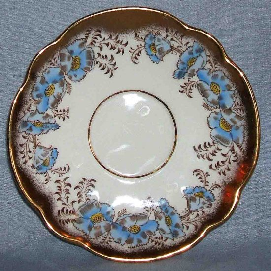 Royal Ardalt Scalloped Blue Floral Teacup Saucer Only