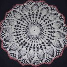 NWOT Thread Crochet White & Rose Pineapple Doily 21""