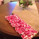 Handmade Burlap  Table Runner With Pretty Pink Gingham Ruffles 3 Tires.