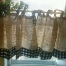 Handmade French Country Cafe Style  Burlap And Gingham, Set of 2 Panels