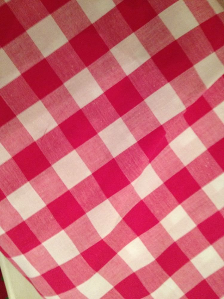 Pink Gingham Fabric By The Yard Cotton Blend