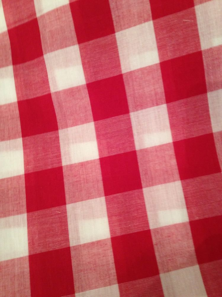Cotton Fabric Per Yard, Woven Gingham, Reversible, Red & White,top Quality 44in.