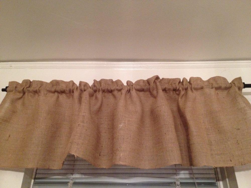 Handmade Burlap Natural Valance Window Treatment Rustic Look