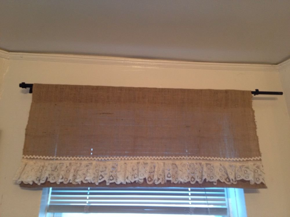 Handmade Burlap Natural Valance Window Treatment with Vintage Look