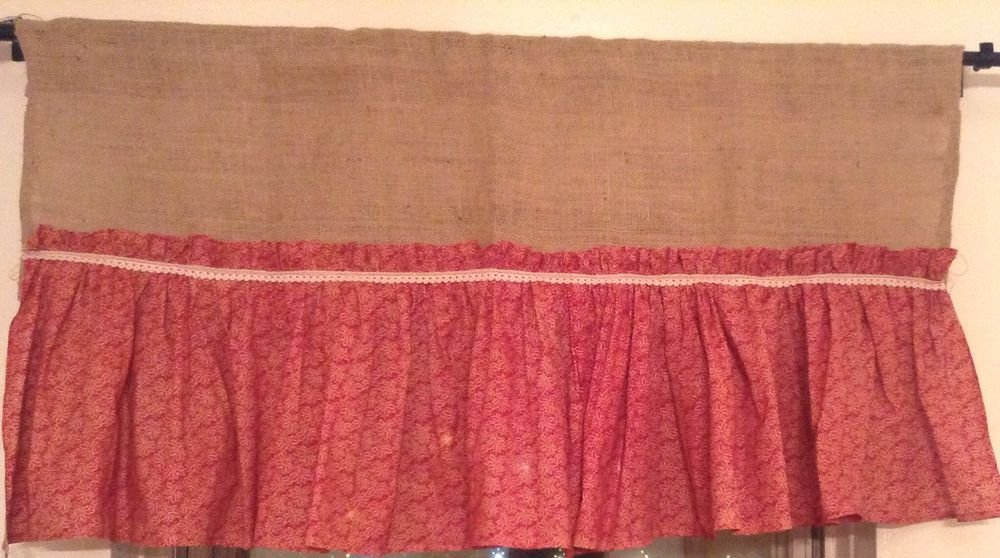 Handmade Natural Burlap Valance With Red Cotton Ruffle Skirt And Lace Trim
