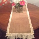 Handmade Burlap Table Top Ir Runner, Cute Vintage Look