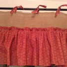 Handmade Natural Burlap Valance With Red Cotton Ruffle Skirt And Matching Ties