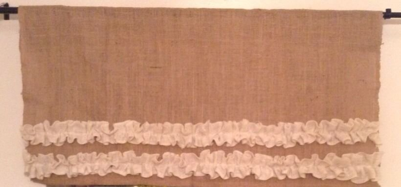 Handmade Burlap Natural Valance Window Treatment with 2tires Off White Burlap