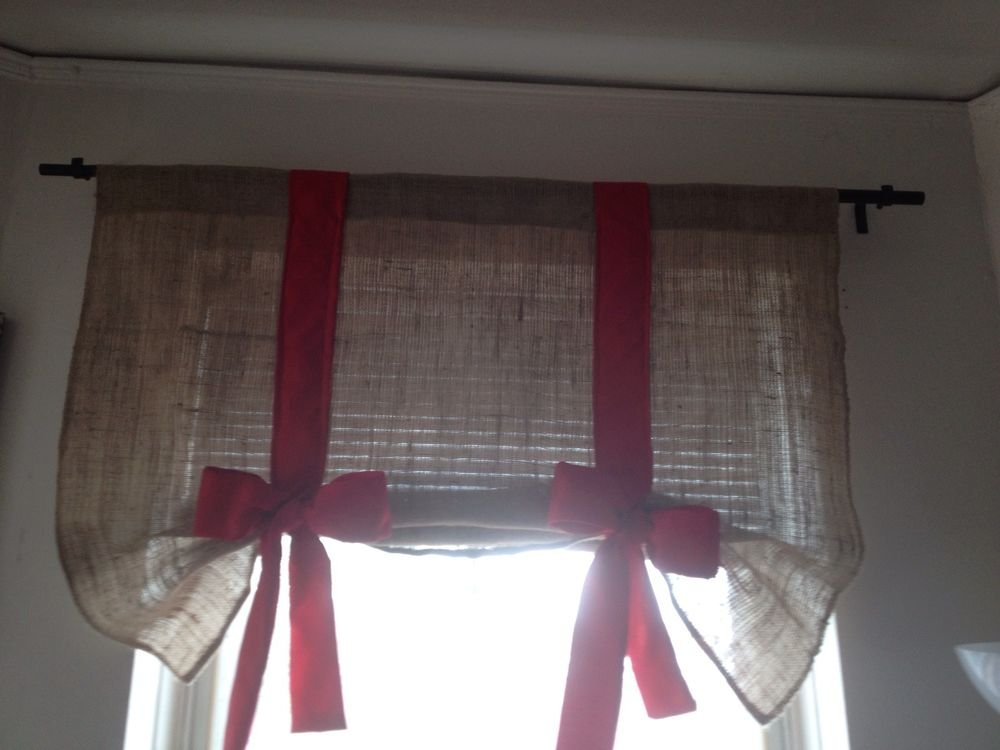 Handmade Tie Up Burlap Valance With Big Red Bow Happy Holidays