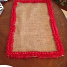 Handmade Christmas Burlap Placemats Set Of 4 With Red Trim