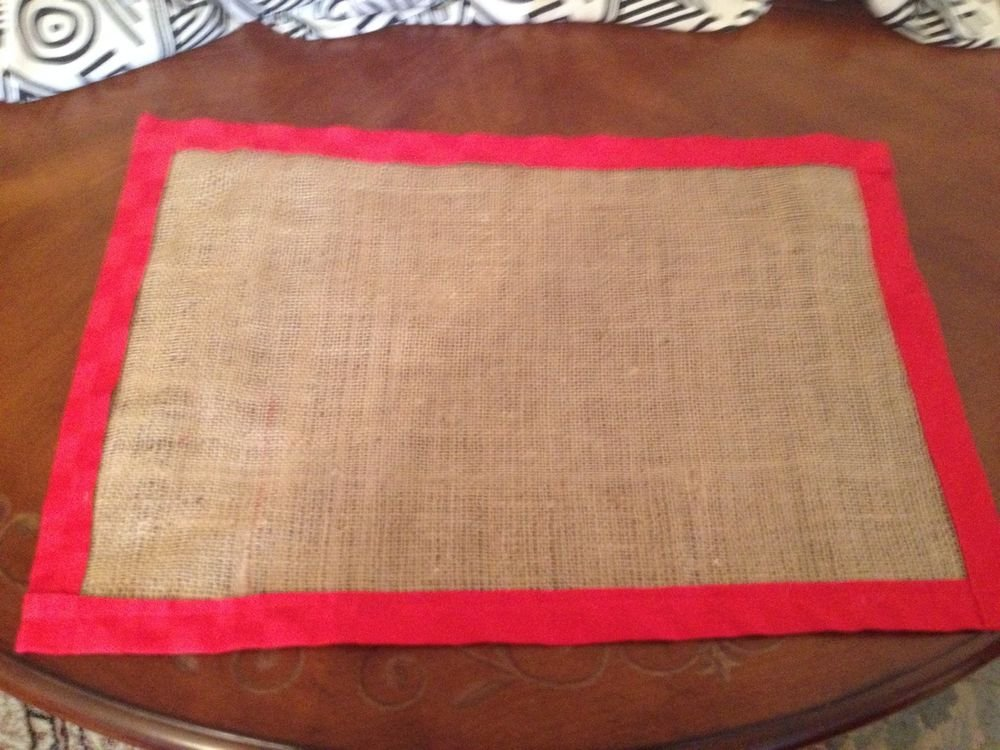 Handmade Christmas Burlap Placemats Set Of 4 With Red Fabric Border