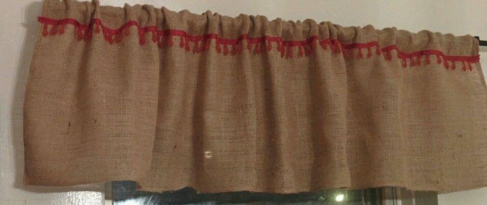 Handmade Burlap Natural Valance Window Treatment Rustic Look With Red Trim